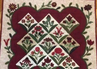 "Floral - Table Topper Applique squares 26"" x 26"""