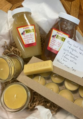 Local Bee Products - Creamy honey, Regular honey, Beeswax Candles - 2 jar & 12 votive, 1 bar of beeswax